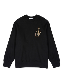 Black Logo Embroidered Cotton Sweatshirt by Jw Anderson