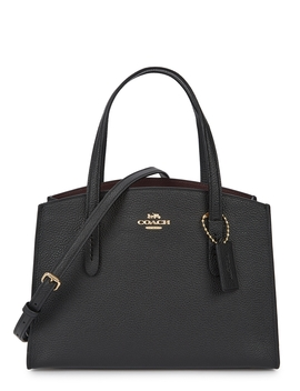 Charlie 28 Black Leather Top Handle Bag by Coach