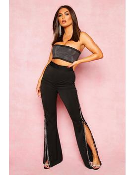 Diamante Split Side Wide Leg Trouser by Boohoo