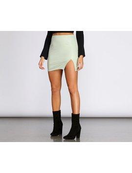 Side Slit Pu Mini Skirt by Windsor
