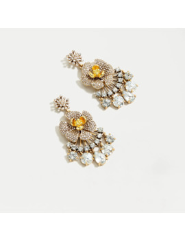 Icicle Flower Pavé Chandelier Earrings by J.Crew