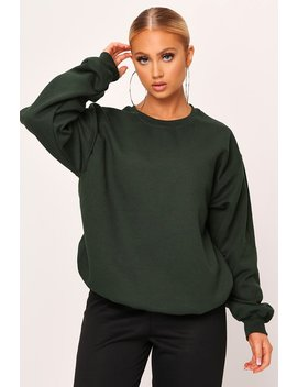 Forest Green Brush Back Crew Neck Oversized Sweatshirt by I Saw It First