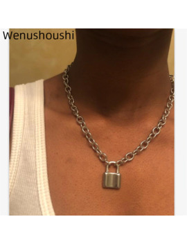 ( Color Do Not Fade ) Women Jewelry Stainless Steel Padlock Necklace Punk Hiphop Rock Lock Men Necklace Friendship Gifts Di067 by Ali Express.Com