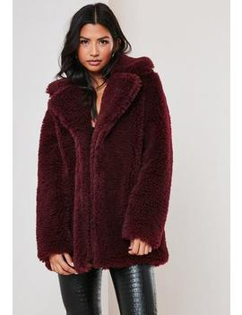 Red Faux Fur Short Collar Jacket by Missguided