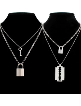 Stainless Steel Double Layer Key Lock Necklace Punk Link Chain Padlock Pendant Necklace Hiphop Women Men Fashion Gothic Jewelry by Ali Express.Com