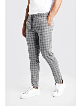 Textured Check Smart Jogger Trouser by Boohoo