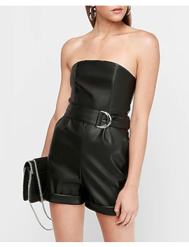 Strapless Belted Vegan Leather Romper by Express
