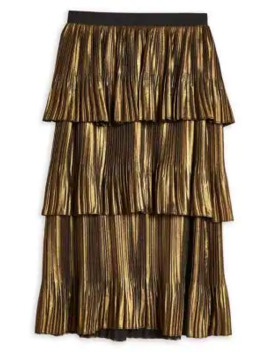 Gold Metallic Tiered Midi Skirt by Topshop