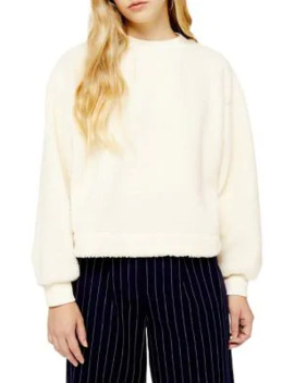 Teddy Faux Shearling Sweatshirt by Topshop