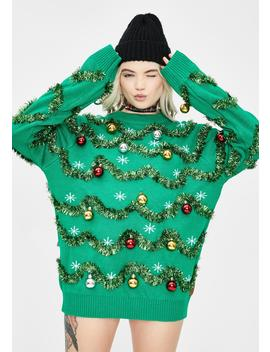 Gaudy Garland Tinsel Sweater by Tipsy Elves