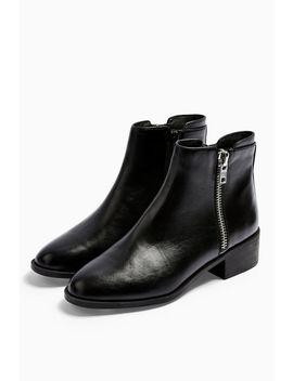 Khloe Black Zip Flat Boots by Topshop