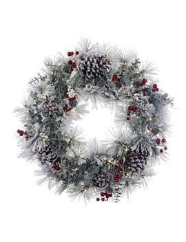 Kurt Adler 24 Inch Battery Operated Red Berries And Pinecone Led Wreath by Kurt Adler