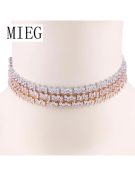 Mieg Jewelry New Arrival Irregular Square Design Sparkling Cubic Zirconia Cz Choker Necklaces For Women by Ali Express.Com