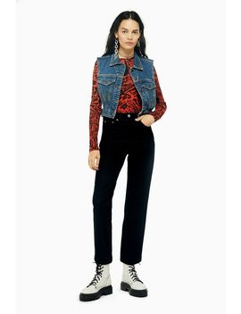 Black Corduroy Straight Jeans by Topshop