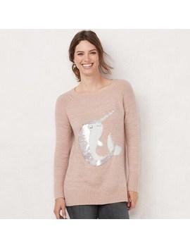 Women's Lc Lauren Conrad Embellished Raglan Tunic Sweater by Lc Lauren Conrad