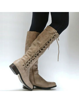 Womens Ladies Faux Leather Mid Calf Boots Lace Low Heels Punk Booties Shoes Size by Unbranded
