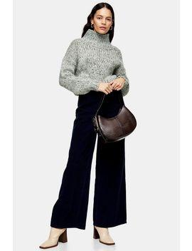 Navy Corduroy Slim Wide Jeans by Topshop