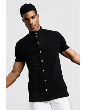 Short Sleeve Grandad Collar Jersey Shirt by Boohoo