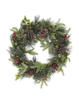 Ponderosa Pine Flocked Wreath by Glucksteinhome