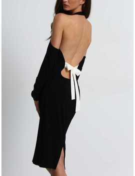 Contrast Bow Tie Backless Halter Slit Dress by Romwe