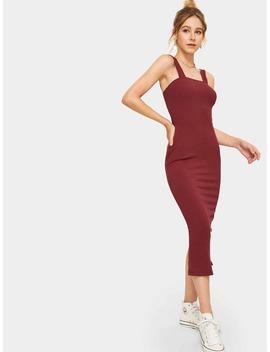 Thick Strap Slit Back Ribbed Midi Dress by Romwe