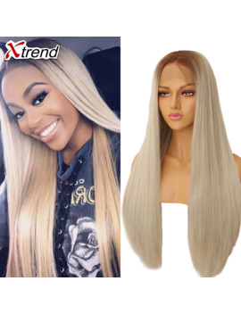 Xtrend Straight Pink Synthetic Lace Front Wig White Purple Green Blonde 613 Grey 60 Copper Wigs For Black Women Heat Resistant by Ali Express.Com