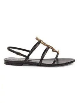 Cassandra Leather Flat Sandals by Saint Laurent