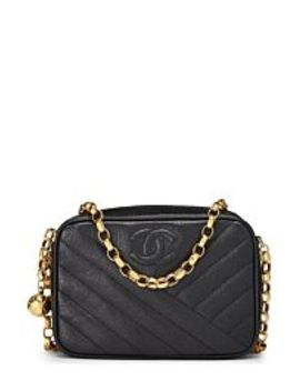 Black Diagonal Caviar Camera Bag Small by Chanel