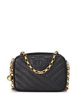 Black Diagonal Caviar Camera Bag Small by Chanel