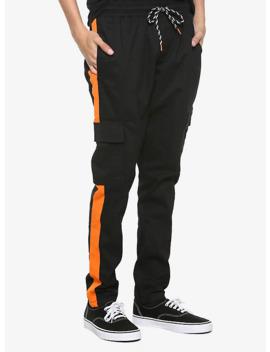 Orange Strip Drawstring Cargo Pants by Hot Topic