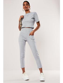 Gray Co Ord Ribbed Pocket Detail Leggings by Missguided