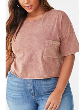 Plus Size Mineral Wash Raw Cut Top by Forever 21