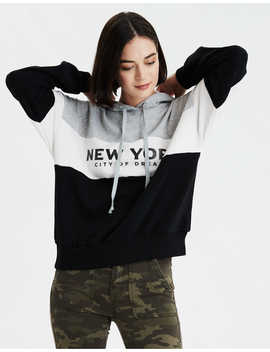 Ae Fleece Ny Graphic Oversized Hoodie by American Eagle Outfitters