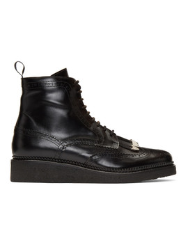 Black Hard Leather Lace Up Boots by Toga Virilis