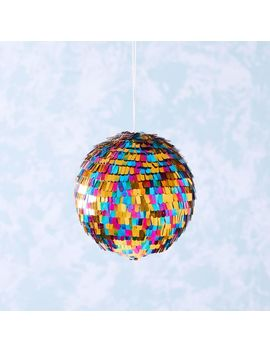 Rainbow Disco Ball Tinsel Ornament by West Elm