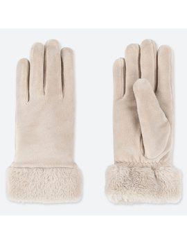 Women Heattech Faux Shearling Cuff Gloves by Uniqlo
