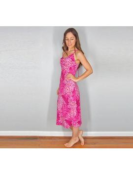 90s Slip Dress, Pink Floral Dress, Midi Maxi Sundress, Boho Hippie Festival Dress, Size Small by Etsy