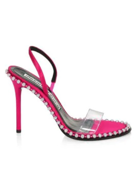 Nova Crystal Studded Pvc & Satin Slingback Sandals by Alexander Wang