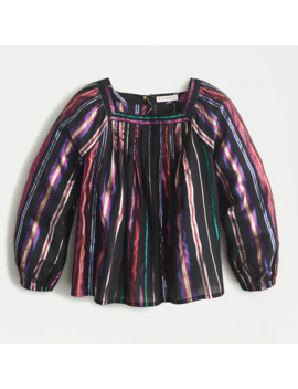 Girls' Square Neck Top With Keyhole In Rainbow Stripe by J.Crew
