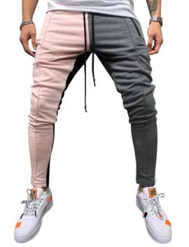 Hot Color Block Pockets Drawstring Slim Fit Track Pants   Light Pink M by Zaful