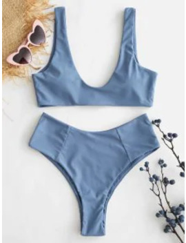 Salezaful High Waisted Scoop Bikini Set   Blue Gray S by Zaful