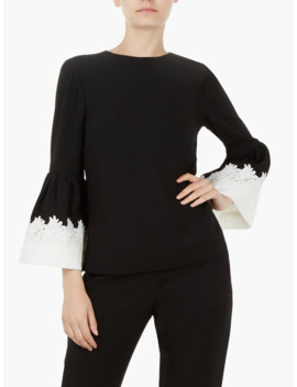 Ted Baker Amonie Fluted Sleeve Lace Trim Top by Ted Baker