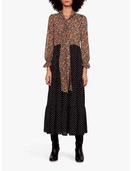 Gerard Darel Dayana Floral Print Tie Neck Dress, Black/Multi by Gerard Darel