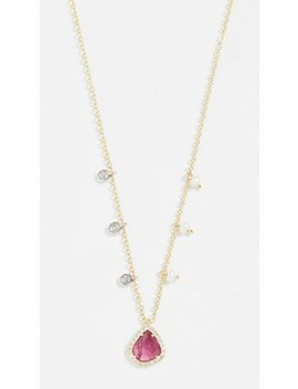 Pink Teardrop Pendant Necklace 14k by Meira T