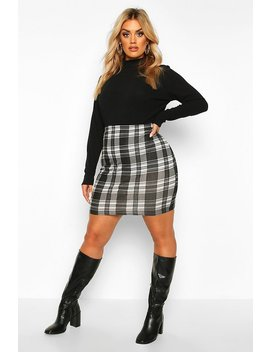 Plus Mono Check Mini Skirt by Boohoo