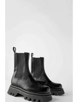 Zara New Track Sole Leather Ankle Boot Black 5159/001 by Zara
