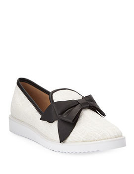 Karl Lagerfeld Paris Classie Boucle Knit Bow Sneakers by Karl Lagerfeld Paris
