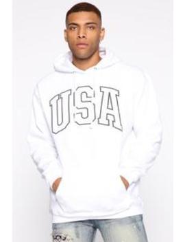 Usa Hoodie   White/Combo by Fashion Nova