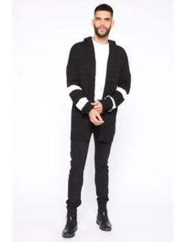 Reynolds Cardigan Sweater   Black/White by Fashion Nova