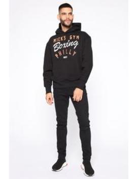 Mick's Boxing Hoodie   Black/Orange by Fashion Nova